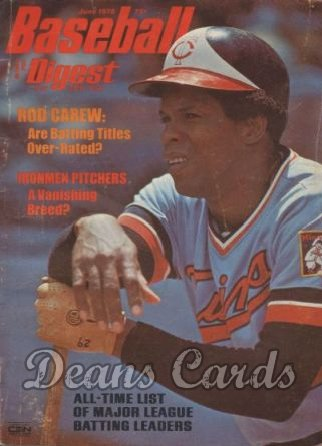 1975 Baseball Digest   -  Rod Carew  June