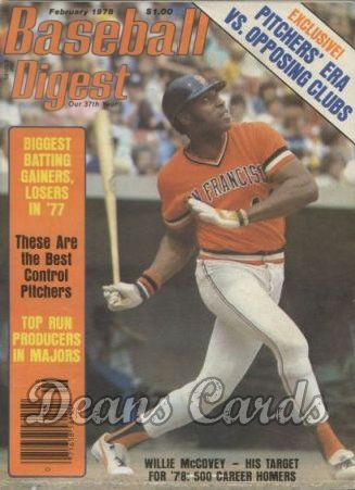 1978 Baseball Digest   -  Willie McCovey  February