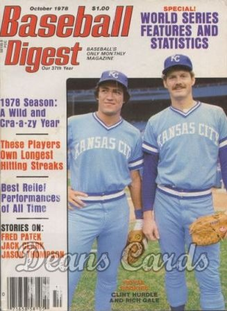 1978 Baseball Digest   -  Clint Hurdle / Rich Gale  October
