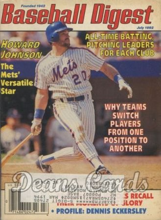 1992 Baseball Digest   -  Howard Johnson  July