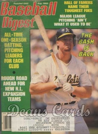 1992 Baseball Digest   -  Mark McGwire  August