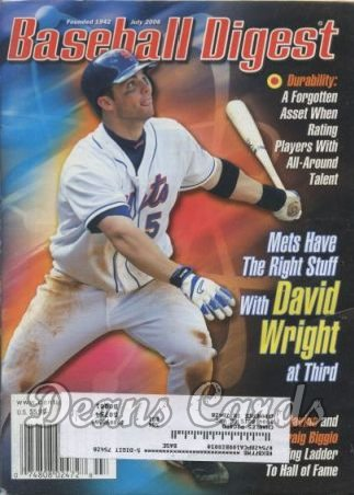 2006 Baseball Digest   -  David Wright  July