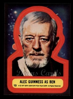 1977 Topps Star Wars Stickers #13   Alec Guinness as Ben