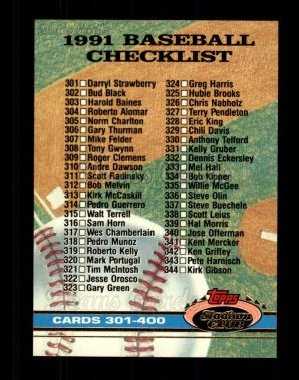 1991 Topps Stadium Club #598   Checklist 301-400