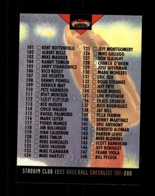 1993 Topps Stadium Club #289   Checklist 101-200