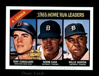 2001 Topps Archives #431   -  Tony Conigliaro / Norm Cash / Willie Horton 66 Topps AL HR Leaders