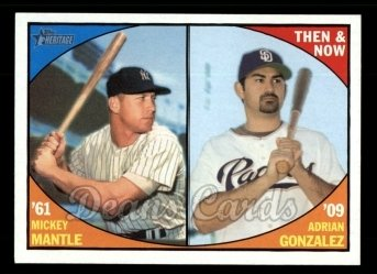 2010 Topps Heritage Then & Now #5 TN  -  Mickey Mantle / Adrian Gonzalez Then & Now