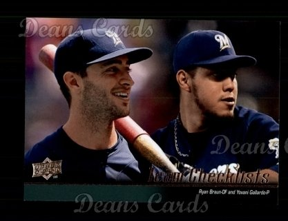 2010 Upper Deck #586   -  Ryan Braun / Yovani Gallardo Brewers Team Checklist