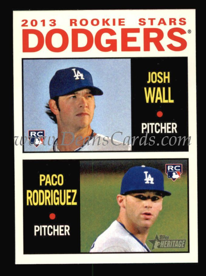 2013 Topps Heritage #14   -  Josh Wall / Paco Rodriguez Dodgers Rookies