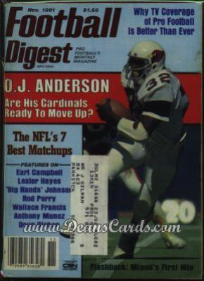 1981 Football Digest    November  - O.J. Anderson