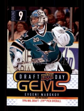 2009 Upper Deck Draft Day Gems #9 GEM Evgeni Nabokov