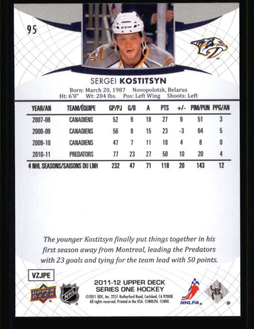 2011 Upper Deck #95  Sergei Kostitsyn