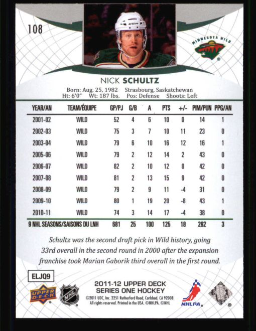 2011 Upper Deck #108  Nick Schultz