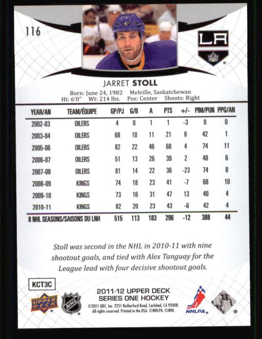 2011 Upper Deck #116  Jarret Stoll