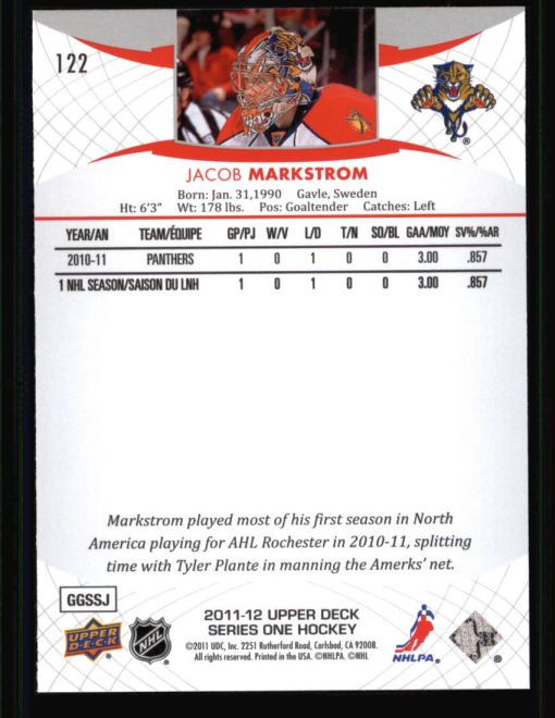 2011 Upper Deck #122  Jacob Markstrom