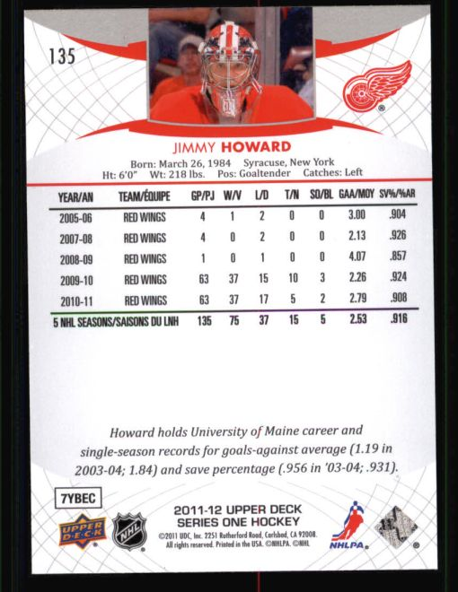 2011 Upper Deck #135  Jim Howard