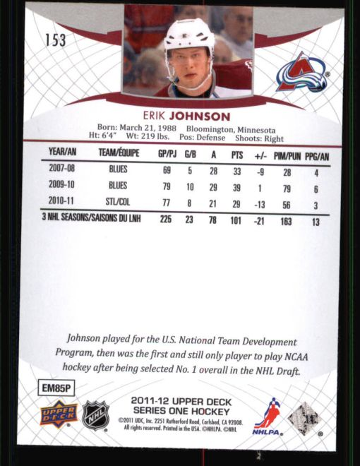 2011 Upper Deck #153  Erik Johnson