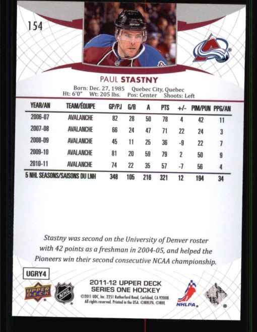 2011 Upper Deck #154  Paul Stastny