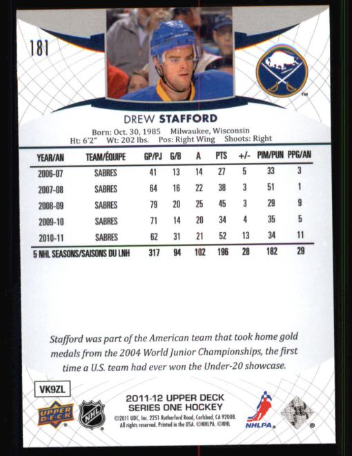 2011 Upper Deck #181  Drew Stafford