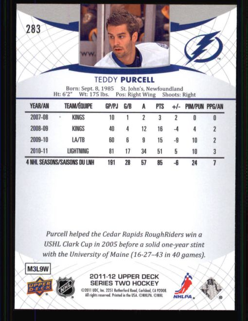 2011 Upper Deck #283  Teddy Purcell