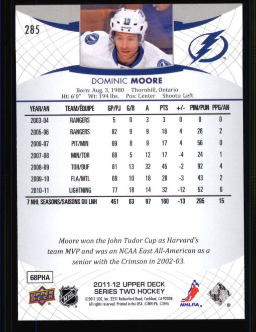 2011 Upper Deck #285  Dominic Moore