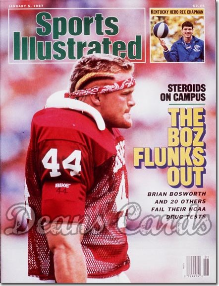 1987 Sports Illustrated - With Label   January 5  -  Brian Bosworth (Oklahoma Sooners)