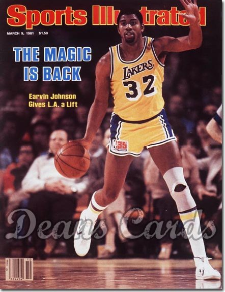 1981 Sports Illustrated - With Label   March 9  -  Magic Johnson (Los Angeles Lakers)