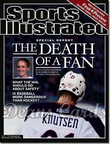 2002 Sports Illustrated - With Label   April 1  -  Espen Knutsen Brittanie Cecil (Columbus Blue Jackets)