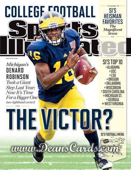 2012 Sports Illustrated - With Label   August 20  -  Denard Robinson / The Victor? /  College Football