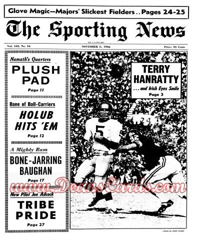 1966 The Sporting News   November 5  - Terry Hanratty / Slick fielders