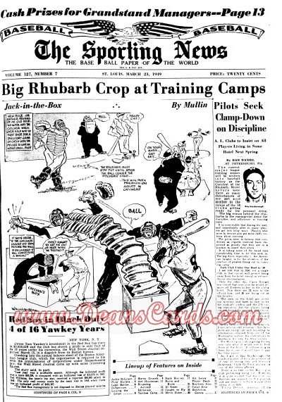 1949 The Sporting News   March 23  - George Earnshaw / Art Houtteman