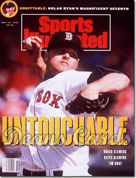 1991 Sports Illustrated - No Label   May 13  -  Roger Clemens (Boston Red Sox) (Nolan Ryan Inset)