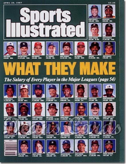 1987 Sports Illustrated - With Label   April 20  -  Baseball Players Salaries