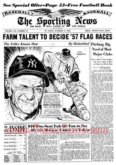 1956 The Sporting News   October 3  - Casey Stengel / World Series Issue