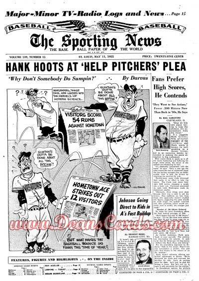 1955 The Sporting News   May 11  - Don Mueller / Herb Score