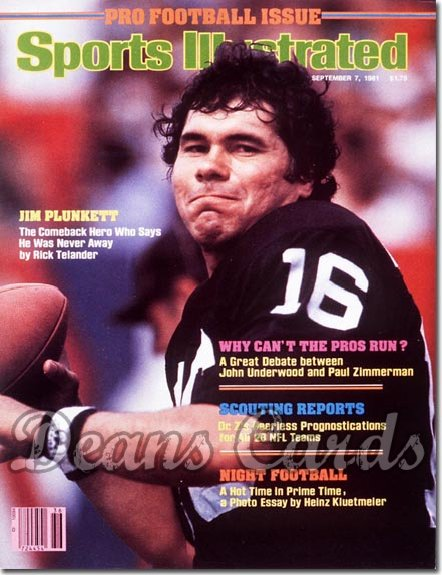 1981 Sports Illustrated - With Label   September 7  -  Jim Plunkett (Oakland Raiders)