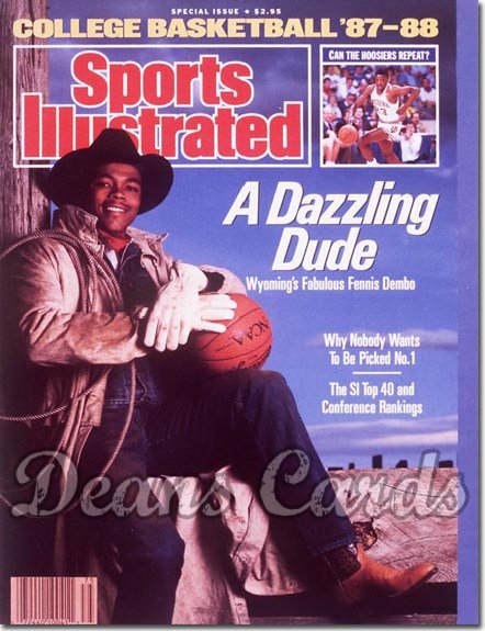 1987 Sports Illustrated - With Label   November 18  -  Fennis Dembo (Wyoming Cowboys)College Basketball Issue