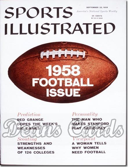 1958 Sports Illustrated - With Label   September 22  -  Football Preview Issue