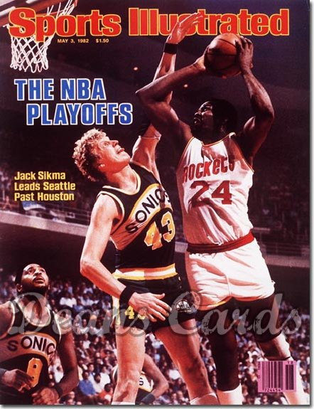 1982 Sports Illustrated - With Label   May 3  -  Moses Malone & Jack Sikma Rocketsvs Sonics