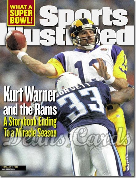 2000 Sports Illustrated - With Label   February 7  -  Kurt Warner (Rams) Anthony Dorsett (Titans)