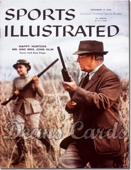 1958 Sports Illustrated - With Label   November 17  -  John & Evelyn Olin Hunting