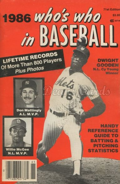 1986 Who's Who in Baseball   -  Dwight Gooden / Don Mattingly/ Willie McGee