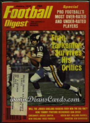 1977 Football Digest    January  - Fran Tarkenton