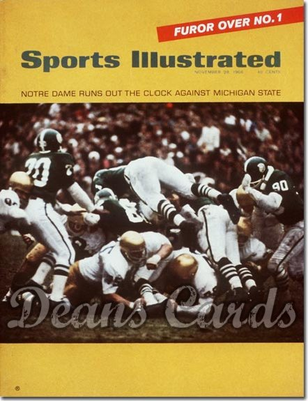 1966 Sports Illustrated - With Label   November 28  -  Notre Dame vs Michigan State Spartans Irish