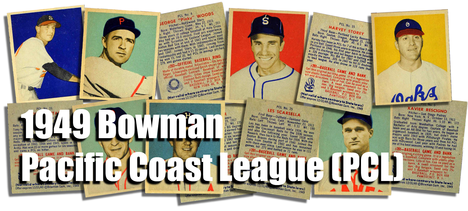 1949 Bowman Pacific Coast League (PCL) Baseball Cards