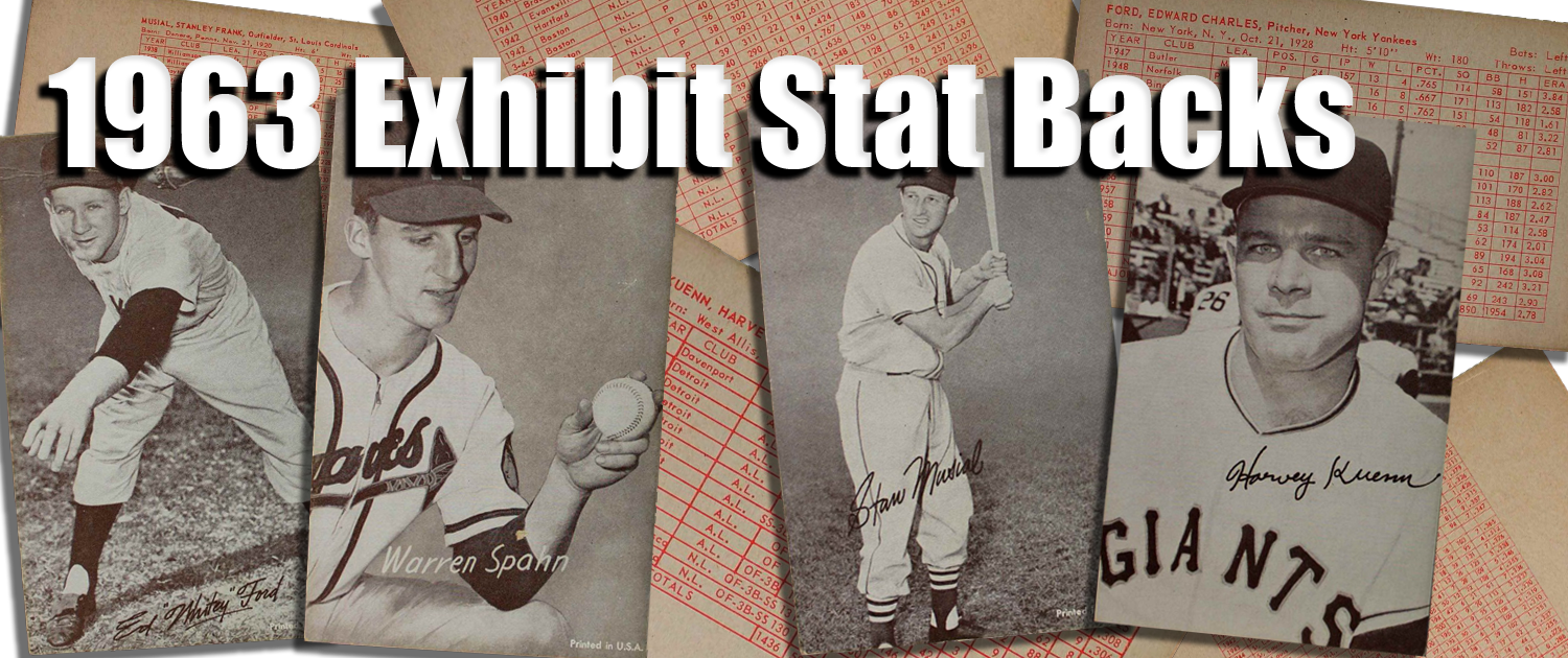 1963 Exhibit Stat Backs Baseball Cards