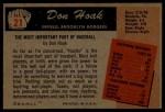 1955 Bowman #21  Don Hoak  Back Thumbnail