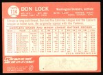 1964 Topps #114  Don Lock  Back Thumbnail