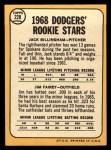 1968 Topps #228   -  Jim Fairey / Jack Billingham Dodgers Rookies Back Thumbnail