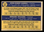 1970 Topps #401   -  Bernie Williams / John Harrell Giants Rookies Back Thumbnail